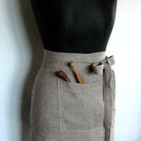 Linen Kitchen Half Apron Gardening Chef Aprons Teachers Apron Natural Gray Prewashed Linen and Lace