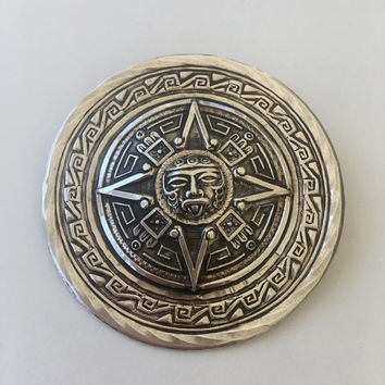 Sterling Mayan Sun God Brooch. Mexico Silver Sun Pin, Vintage Celestial Jewelry, Mexican Silver Sun Pendant