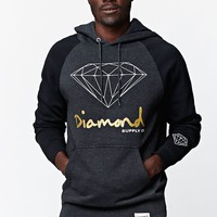 Diamond Supply Co Script Raglan Hoodie - Mens Hoodie - Grey