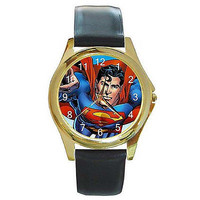 Superman ( Close Up ) on a Gold Tone Watch w/ Leather Bands..New *