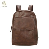 Unisex Backpack PU Leather School Bags For Teenagers Girls Leisure Backpacks Men
