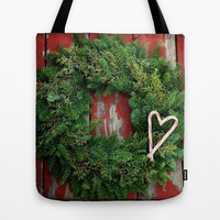Country Christmas Wreath Tote Bag by RDelean