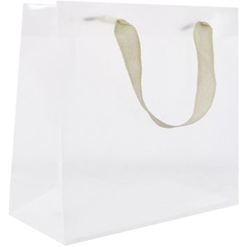 Heavyweight Solid Color Large Gift Bags, Clear Plastic (120 Pcs)