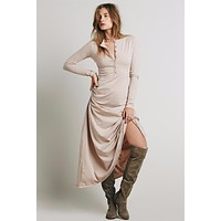 O-Neck Single-Breasted Down the Front Long Sleeve Furcal Maxi Dresses