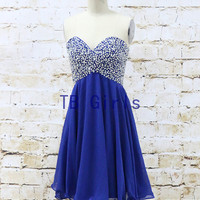 Sexy Hot Sweetheart Sequins Short Prom Dress, Royal Bridesmaid Prom Dress, Graduation Homecoming Party Dress, Cocktail Prom Dress