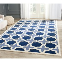 Safavieh Traditional Handmade Cambridge Moroccan Light Blue Wool Rug   Overstock.com Shopping - The Best Deals on 3x5 - 4x6 Rugs