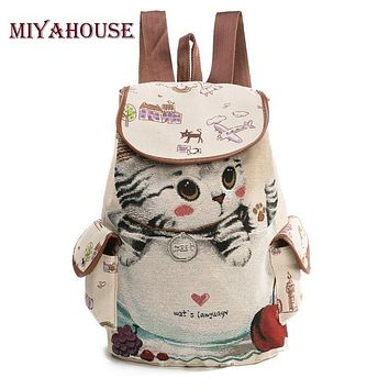 Miyahouse Cute Cat Backpack Women Canvas Backpack Drawstring Printing Backpacks For Teenage Girls Large Capacity School Bag