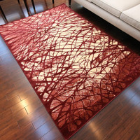 6021 Red Modern Contemporary Area Rugs