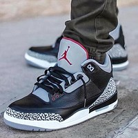 Bunchsun Air Jordan 3 Black Cement Fashion Women Men Casual Sneakers Sport Basketball Shoes