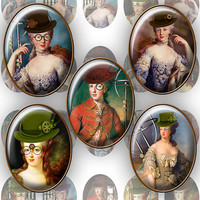Steampunk Marie Antoinette 30x40mm Oval images for Jewelry making Printable Digital Collage Sheet