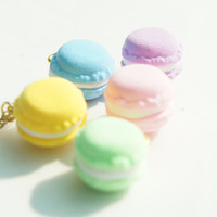 Cute Miniature Macaron Necklace on 14k Gold Plated Chain - 5 Color