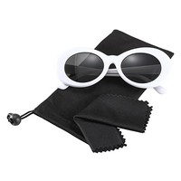 Bold Retro Oval Mod Thick Frame Sunglasses,Wophain Round Lens Clout Goggles Eyewear Supreme Glasses Cool Sunglasses