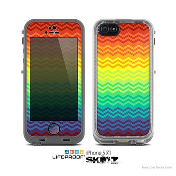 The Rainbow Thin Lined Chevron Pattern Skin for the Apple iPhone 5c LifeProof Case