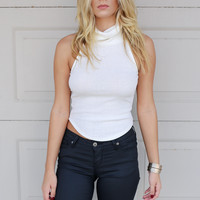 Crystal Champagne White Mock Crop Top
