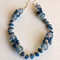 Necklace made with Peacock Blue Apatite, Lampwork Beads and Sterling Silver, Statteam