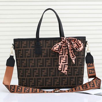 Perfect Fendi Women Fashion Leather Satchel Shoulder Bag Handbag Two Piece Set