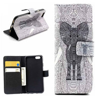 Elephant Print Leather Case Cover Wallet for iPhone 6 / iPhone plus