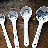 Forest Animal Ceramic Measuring Spoons