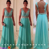 Blue Lace Evening Gown, Sexy Lace Chiffon Bridesmaid Dress, Open Back Prom Lace Homecoming Dress, Custom A-line Plus Size Prom Evening Dress