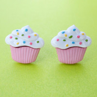 Cupcake Earrings Free Shipping Post Stud 8 Styles Muffin Food Jewelry Sprinkles Glitter Fuzzy Pink Blue Green Yellow Purple