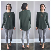 A Loose Long Sleeved Tee in Forest Green