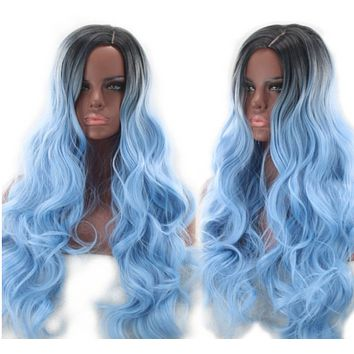 Professionals Volume Blue & Black Curly Layered Long Wig