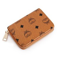 Women Small Purse Fashion Classic Logo Letter Print Zip Short Section Wallet