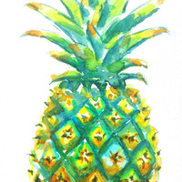 Pineapple Watercolor, Original Painting, 5x7, Colorful, Tropical fruit, Kitchen art, Food theme, Tropical theme, Beach art, Hawaii art