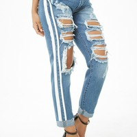 Distressed Striped-Trim Boyfriend Jeans