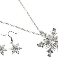 NECKLACE / LINK / METAL / CRYSTAL STONE PAVED / SNOWFLAKE / CHRISTMAS / 1 3/4 INCH DROP / 16 INCH LONG / NICKEL AND LEAD COMPLIANT
