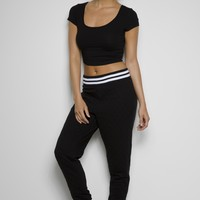 Girls Solid Quilted Varsity Jogger