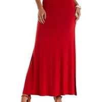 Red Double Side Slit Maxi Skirt by Charlotte Russe
