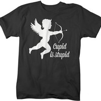 Shirts By Sarah Men's Funny Valentine's Day T-Shirt Cupid Is Stupid Shirts