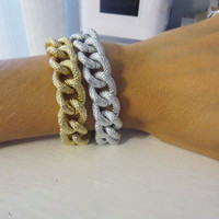 Textured Gold or Silver Chunky Chain Layering Bracelet