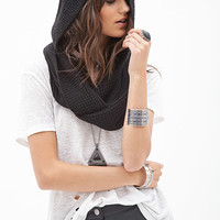 FOREVER 21 Hooded Knit Scarf Black One