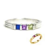 Personalized Princess Square Channel Set Mother's Family Birthstone Ring