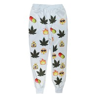 Weed and Money - Unisex 3D Printed Emoji Sweatpants Jogging Pants - White