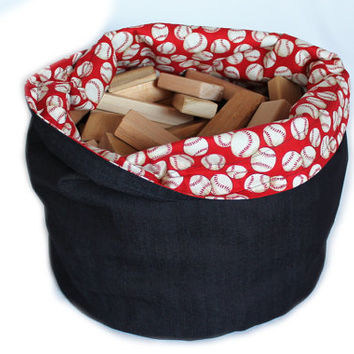 Kids Denim and Baseball Print Toy Bag Sports Red White Extra-Large Bag Home School Travel Laundry Tote -- US Shipping Included