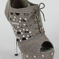 Liliana Ancolie-1 Peep Toe Lace Up Bootie