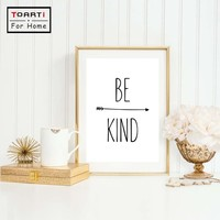 Black White Art Minimalist Print Be Kind Quote Canvas Painting Printable Poster Wall Pictures For Kids Room Decor Home Decor