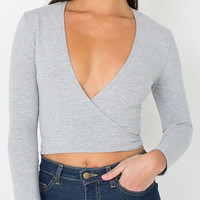 Gray Deep V Wrap Tie Back Long Sleeve Cropped Top