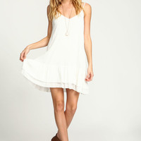 IVORY TIERED RUFFLE SLIP DRESS