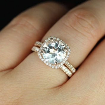 Barra Princess Size 14kt Rose Gold Thin White Topaz Cushion Halo Wedding Set (Other metals and stone options available)