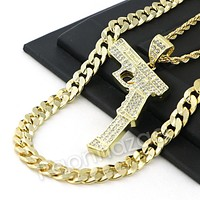 LARGE HAND GUN CHARM ROPE CHAIN DIAMOND CUT CUBAN CHAIN NECKLACE G63