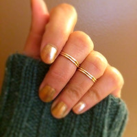 14K Gold Midi Ring Thumb Ring Set / Thin Stacking Rings / Set of 4 Rings / Adjustable Rings /  Statement Rings