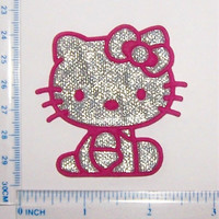 ULTRA IRON ON embroidered shiny glitter with hot pink outline Hello Kitty