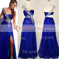 Gorgeous One-Shoulder Sweetheart with Beading Chiffon Floor Length Prom Dress Evening Dress
