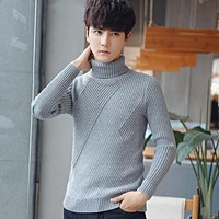 2017 Winter Mens Sweaters and Pullovers Men Turtle Neck Brand Sweater Male Outerwear Jumper Knitted Turtleneck Sweaters M-3XL