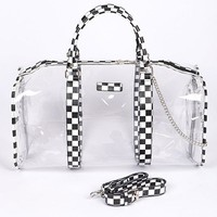 Fall Back To School Clear Bag With Chess Print Details