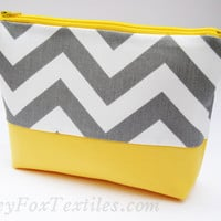 Happy Gray and Yellow clutch, #chevron #cosmetic #case, wallet, #makeup #bag, toiletry bag, gadget case